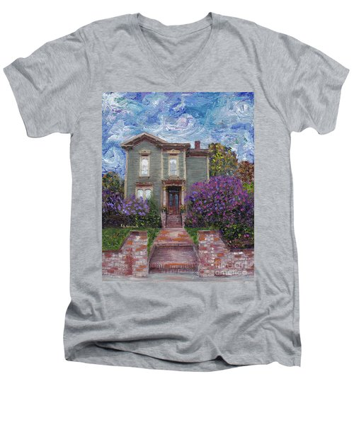Men's V-Neck T-Shirt featuring the painting Alameda 1888 - Italianate by Linda Weinstock