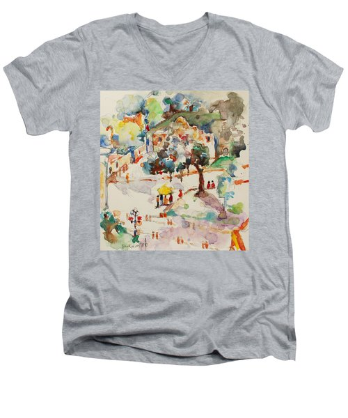 Alamo From Hotel Window Men's V-Neck T-Shirt by Becky Kim