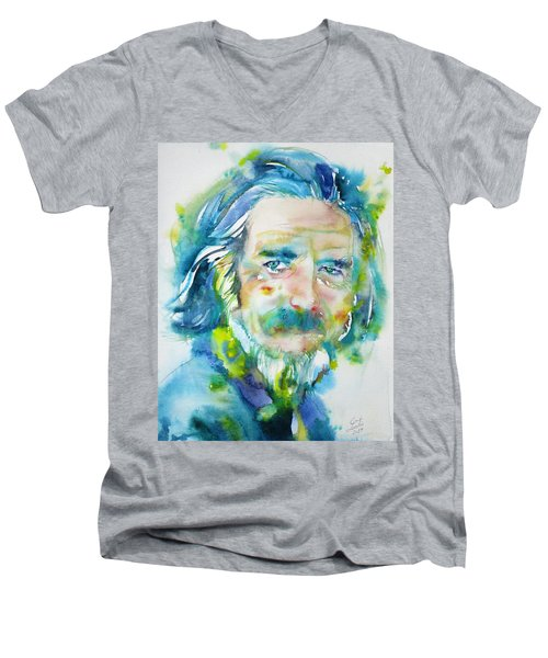 Men's V-Neck T-Shirt featuring the painting Alan Watts - Watercolor Portrait.4 by Fabrizio Cassetta
