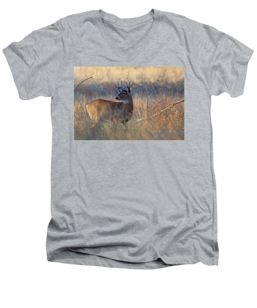 Men's V-Neck T-Shirt featuring the photograph Alarm by Jim Garrison
