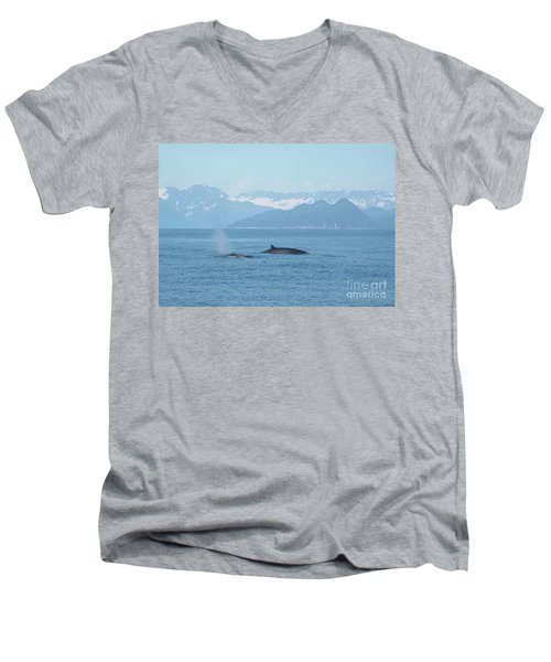 Alaska Finback Whales Men's V-Neck T-Shirt