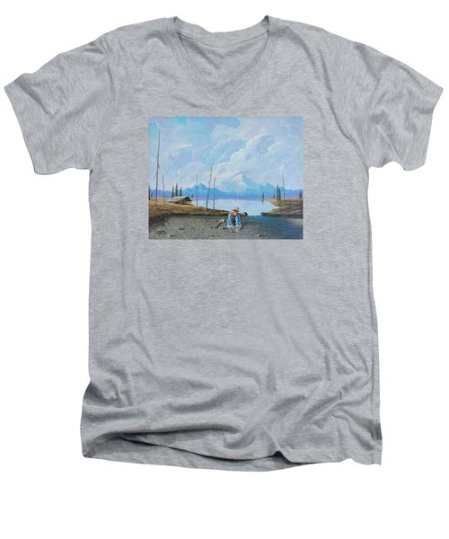 Men's V-Neck T-Shirt featuring the painting Alaskan Atm by Richard Faulkner