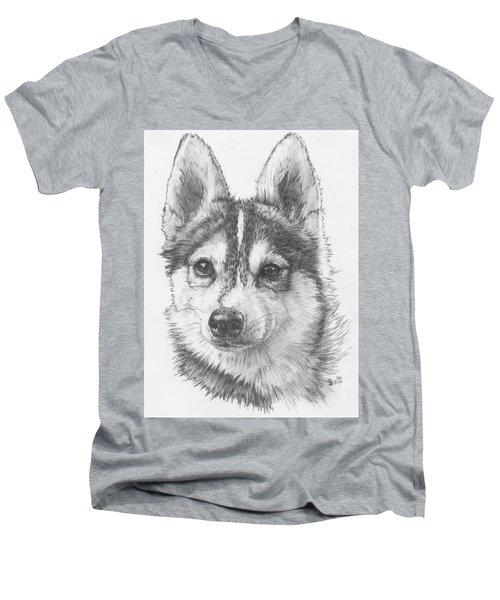 Alaskan Klee Kai Men's V-Neck T-Shirt by Barbara Keith