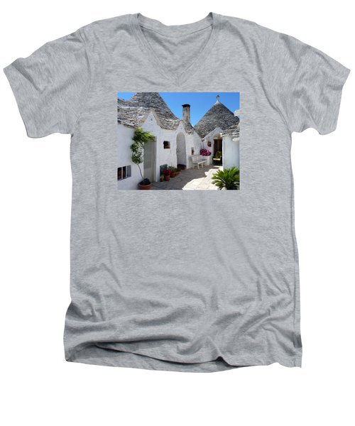 Alberobello Courtyard With Trulli Men's V-Neck T-Shirt