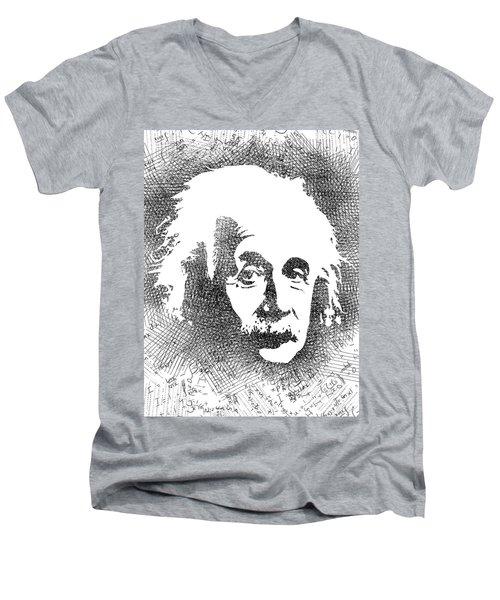 Albert Einstein Bw  Men's V-Neck T-Shirt by Mihaela Pater