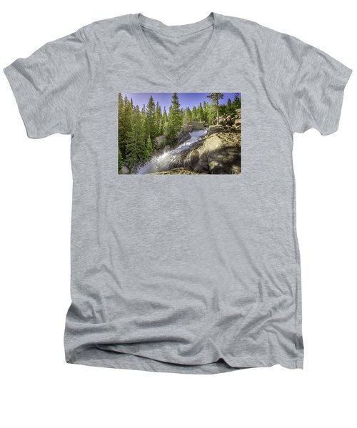 Alberta Falls Men's V-Neck T-Shirt by Mary Angelini