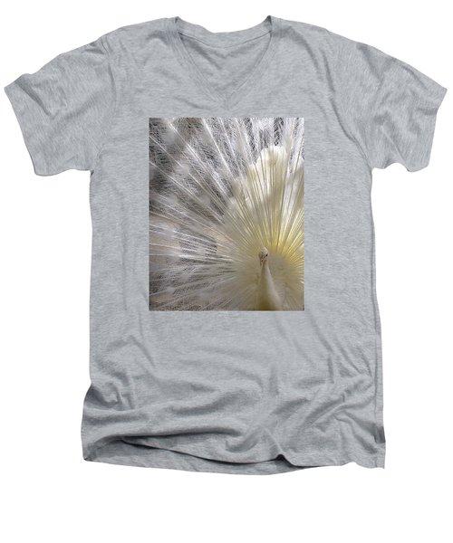 Pure White Peacock Men's V-Neck T-Shirt