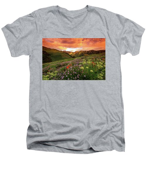 Albion Basin Golden Sunrise Men's V-Neck T-Shirt