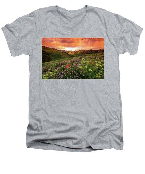 Albion Basin Golden Sunrise Men's V-Neck T-Shirt