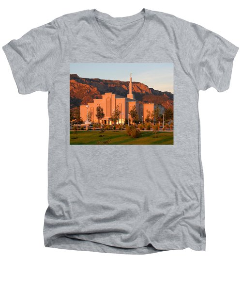 Albuquerque Lds Temple At Sunset 1 Men's V-Neck T-Shirt