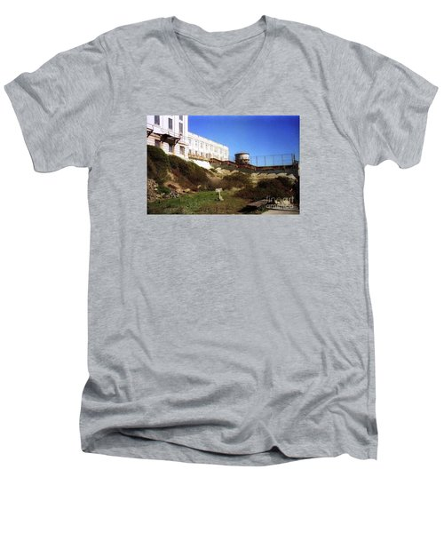 Alcatraz Water Tank Prison  Men's V-Neck T-Shirt by Ted Pollard