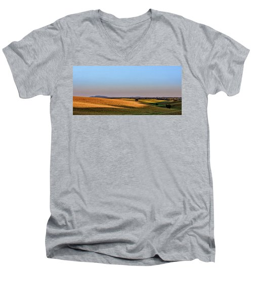 Men's V-Neck T-Shirt featuring the photograph Alentejo Fields by Marion McCristall