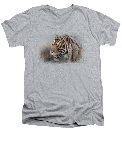 Alert Bengal Men's V-Neck T-Shirt by Jai Johnson