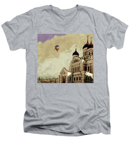 Men's V-Neck T-Shirt featuring the digital art Alexander Nevsky Cathedral In Tallin, Estonia, My Memory. by Jeff Burgess
