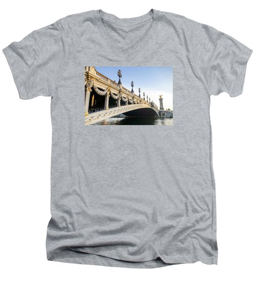 Alexandre IIi Bridge In Paris France Early Morning Men's V-Neck T-Shirt by Perry Van Munster