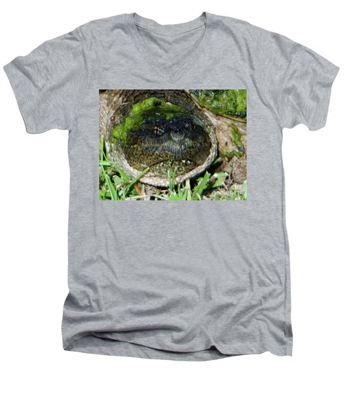 Men's V-Neck T-Shirt featuring the photograph Algae Face Common Snapper by Rockin Docks Deluxephotos