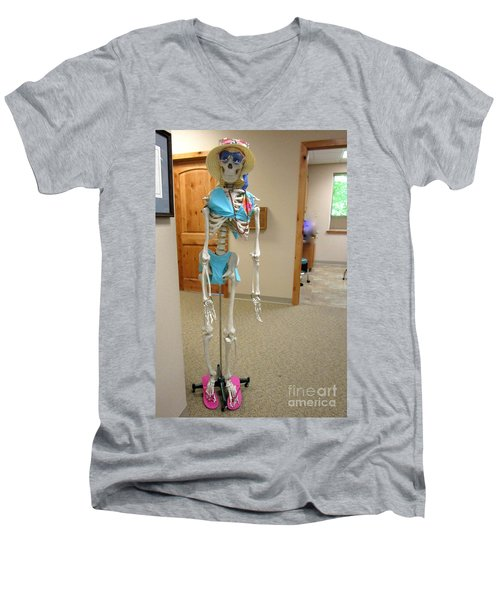 Men's V-Neck T-Shirt featuring the photograph Alien Beyond The Door by Marie Neder
