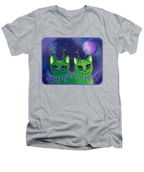 Men's V-Neck T-Shirt featuring the painting Alien Cats by Carrie Hawks
