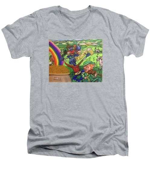 Men's V-Neck T-Shirt featuring the painting Alien Go Bragh by Similar Alien