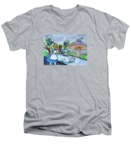 Men's V-Neck T-Shirt featuring the painting Alien In Wonderland by Similar Alien