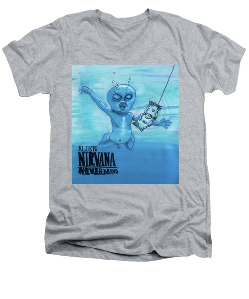 Men's V-Neck T-Shirt featuring the painting Alien Nevermind by Similar Alien