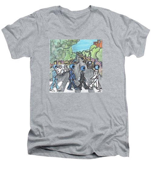 Men's V-Neck T-Shirt featuring the painting Alien Road by Similar Alien