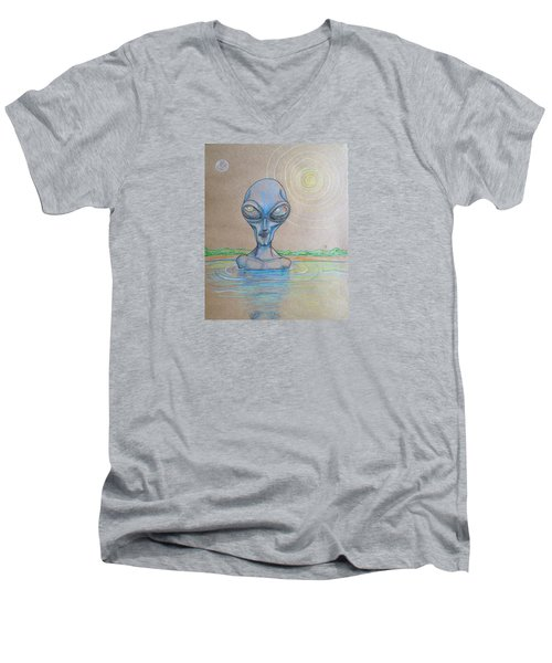 Men's V-Neck T-Shirt featuring the drawing Alien Submerged by Similar Alien