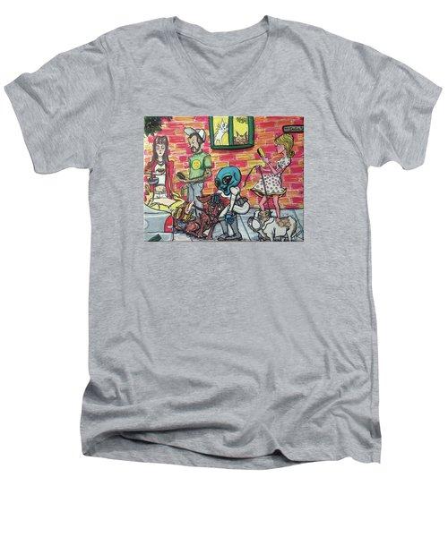 Aliens Love Dogs Men's V-Neck T-Shirt by Similar Alien