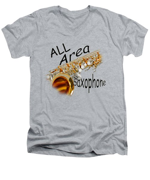 All Area Saxophone Men's V-Neck T-Shirt by M K  Miller