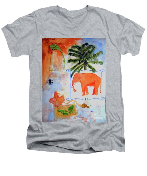 Men's V-Neck T-Shirt featuring the painting All Creatures Great And Small by Sandy McIntire