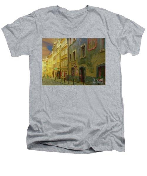 All Downhill From Here - Prague Street Scene Men's V-Neck T-Shirt