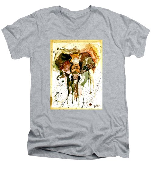 Men's V-Neck T-Shirt featuring the painting All Ears by Denise Tomasura