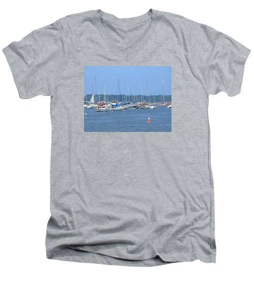 Men's V-Neck T-Shirt featuring the photograph All In Line by Newwwman