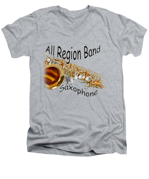 All Region Band Saxophone Men's V-Neck T-Shirt by M K  Miller