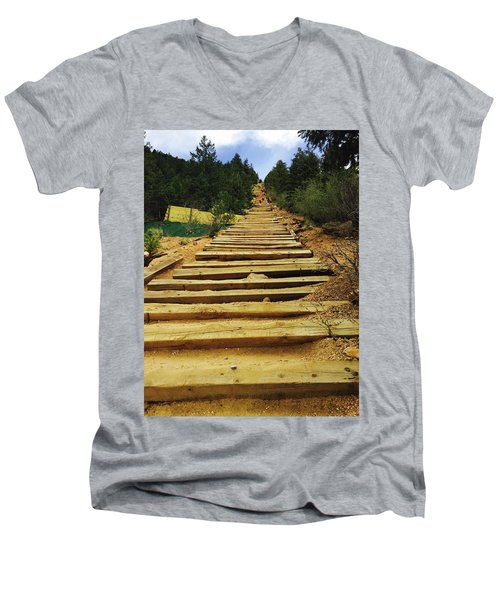 Men's V-Neck T-Shirt featuring the photograph All The Way Up by Christin Brodie