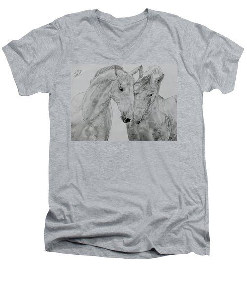Men's V-Neck T-Shirt featuring the drawing All You Need Is Love by Melita Safran