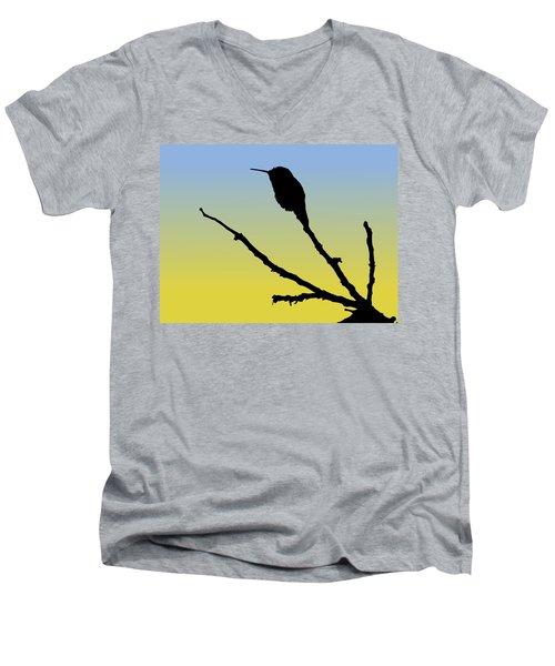 Allen's Hummingbird Silhouette At Sunrise Men's V-Neck T-Shirt