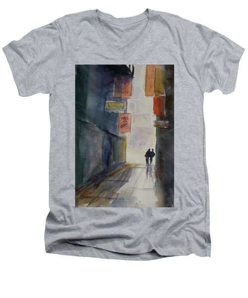 Alley In Chinatown Men's V-Neck T-Shirt by Tom Simmons