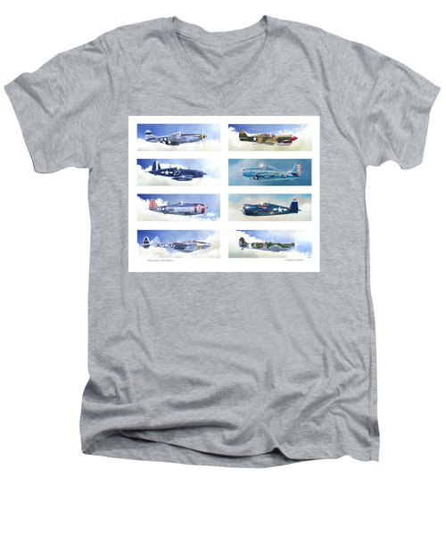 Allied Fighters Of The Second World War Men's V-Neck T-Shirt