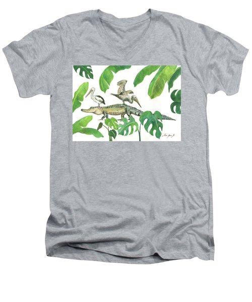 Alligator And Pelicans Men's V-Neck T-Shirt
