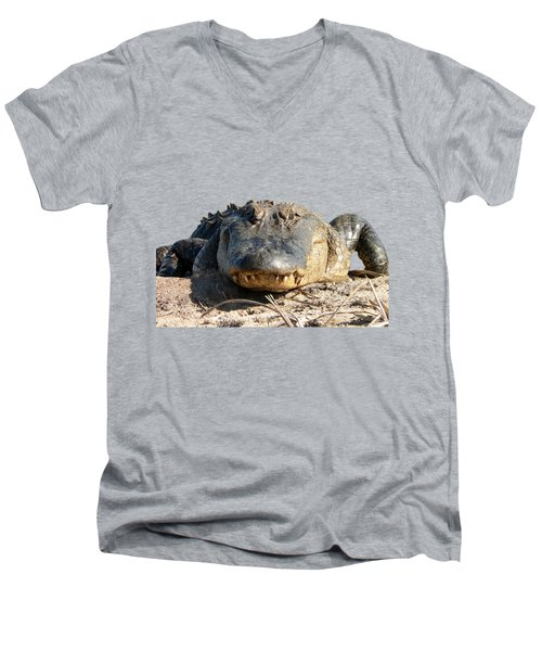 Alligator Approach .png Men's V-Neck T-Shirt by Al Powell Photography USA