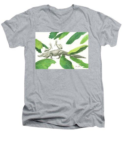 Alligator With Pelicans Men's V-Neck T-Shirt by Juan Bosco