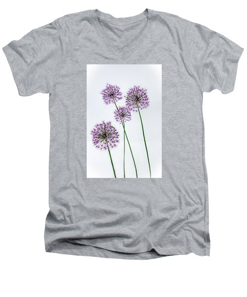 Alliums Standing Tall Men's V-Neck T-Shirt by Susan  McMenamin