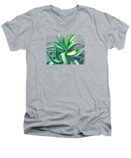 Aloe Vera Watercolor Men's V-Neck T-Shirt