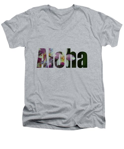 Aloha Orchids Type Men's V-Neck T-Shirt by Kerri Ligatich