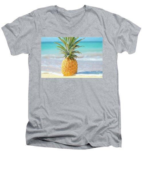 Men's V-Neck T-Shirt featuring the photograph Aloha Pineapple Beach by Sharon Mau