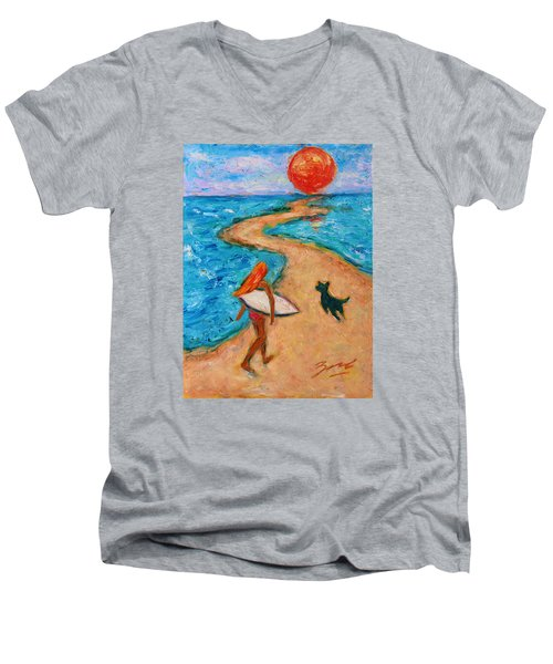 Men's V-Neck T-Shirt featuring the painting Aloha Surfer by Xueling Zou