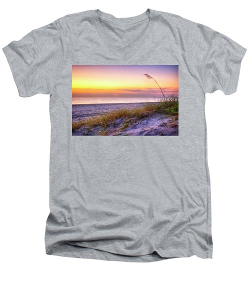 Men's V-Neck T-Shirt featuring the photograph Alone At Dawn by Debra and Dave Vanderlaan