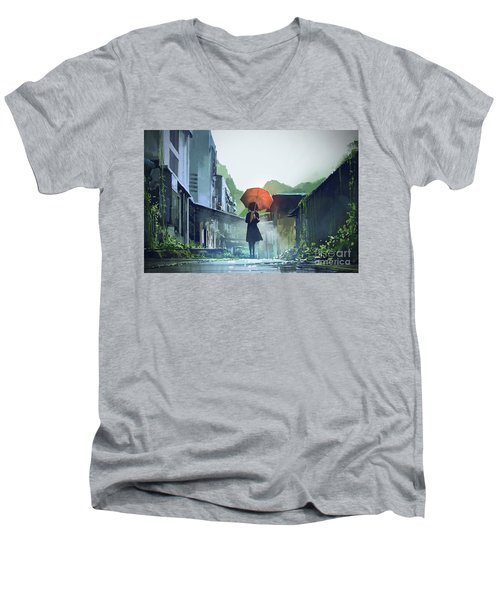 Alone In The Abandoned Town Men's V-Neck T-Shirt