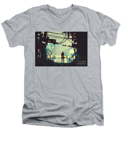 Alone In The Abandoned Town#2 Men's V-Neck T-Shirt